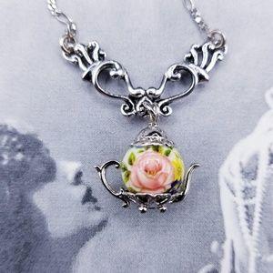 Vintage 925 Sterling silver teapot necklace